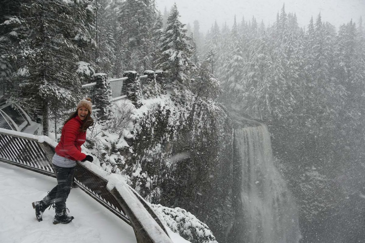 Salt Creek Falls in the Winter and Snowing Oregon