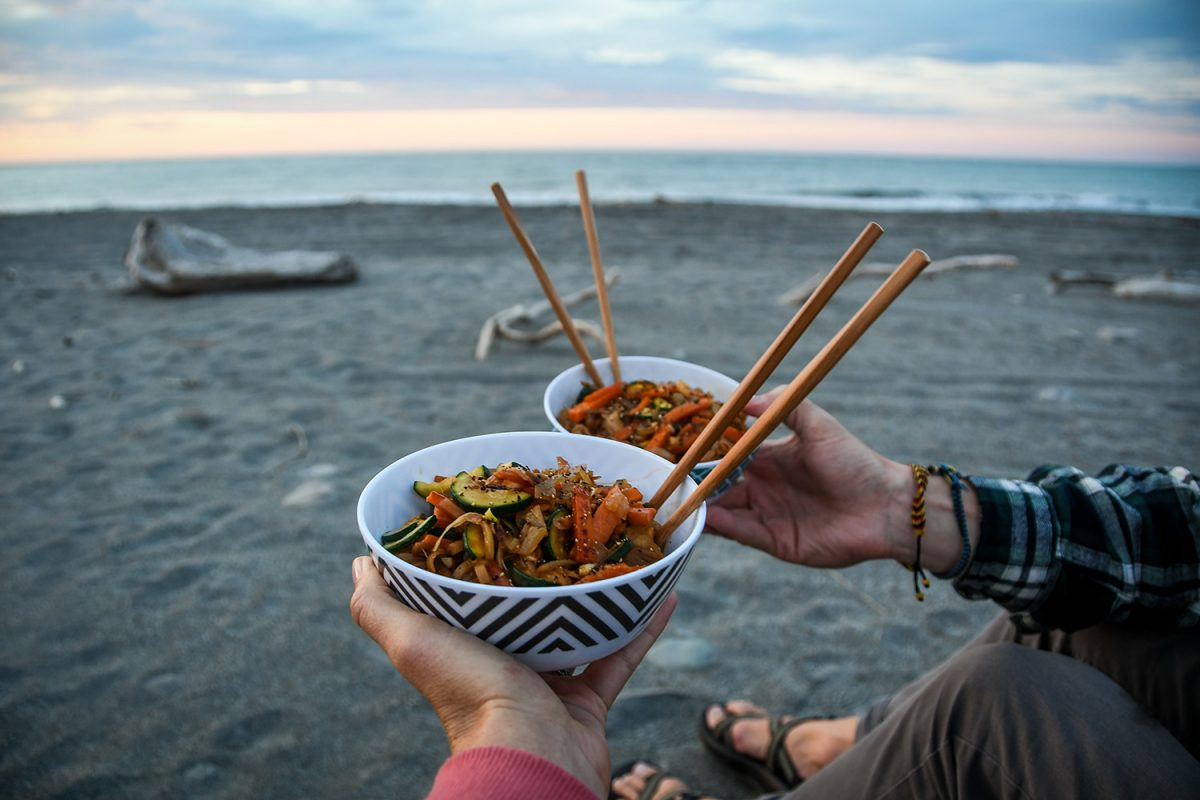 Camp Pad Thai Noodles on the beach