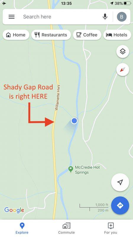 McCredie Hot Springs Location of Shady Gap Road