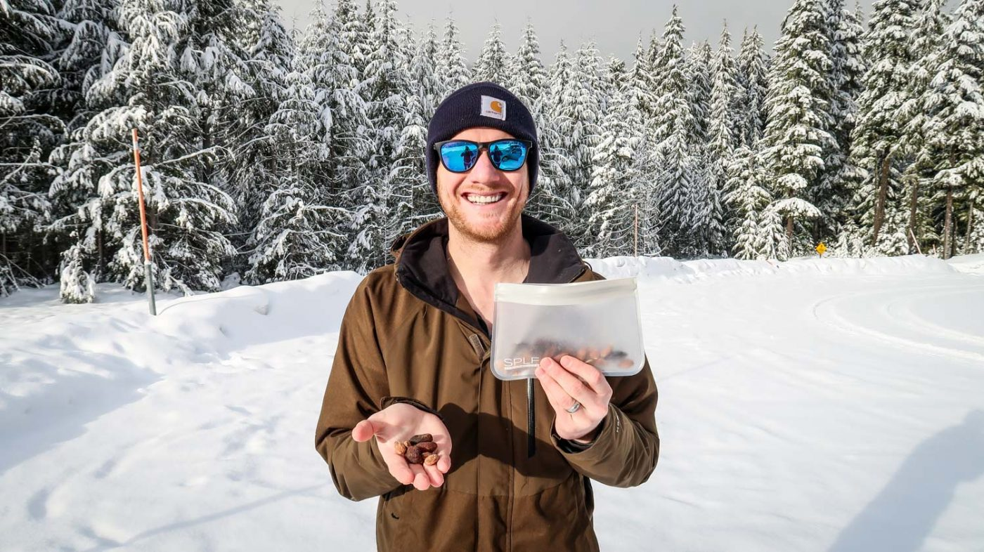 Trail mix on a hike in the snow