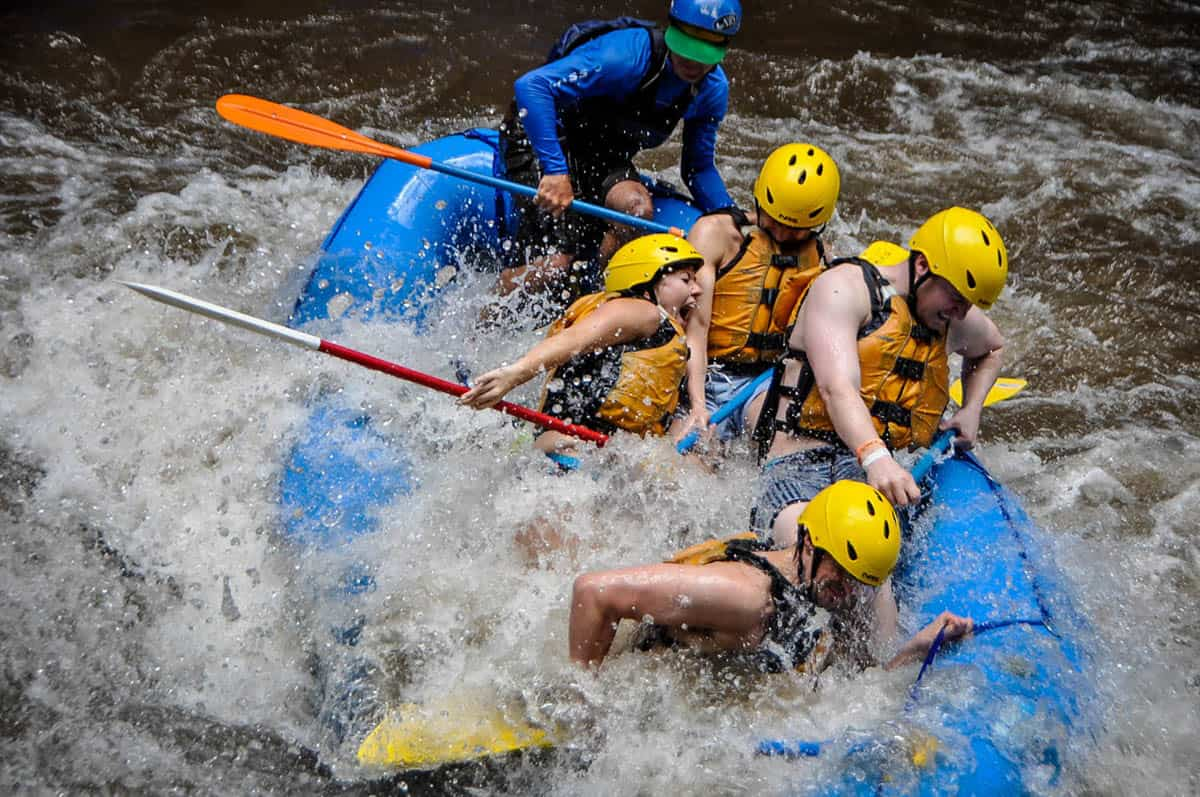 Getting pummeled while white water rafting