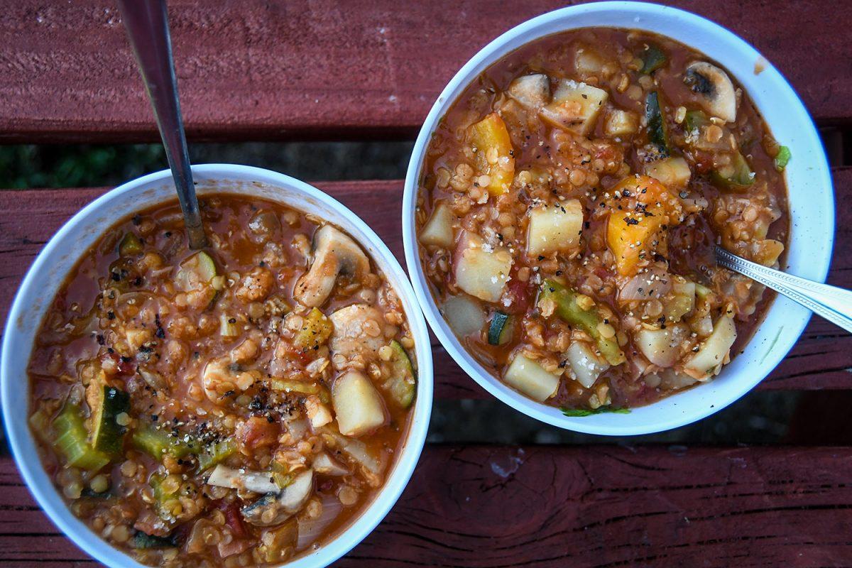 One-Pot Camping Meals: Vegetable Lentil Soup